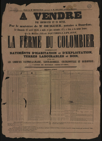 AUTHON-LA-PLAINE, SAINT-ESCOBILLE, CHATIGNONVILLE, RICHARVILLE.- Vente par adjudication de la ferme du Colombier comprenant des bâtiments d'habitation et d'exploitation, de terres labourables et de bois, 27 avril 1856.