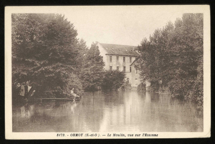 ORMOY. - Le moulin, vue sur l'Essonne. Photo-Edition, sépia.