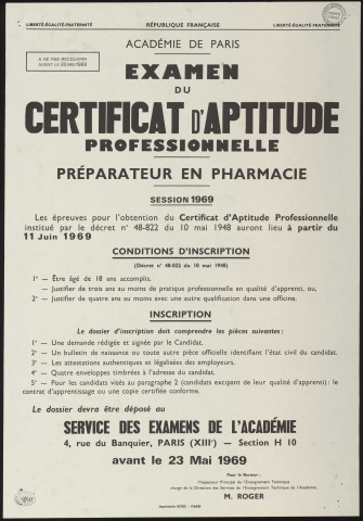 ESSONNE (Département).- Examen du certificat d'aptitude professionnelle - préparateur en pharmacie, session 1969 : conditions d'inscription et inscription, Service des examens de l'Académie de Paris, mai 1969.