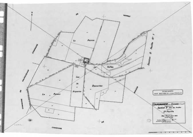 COURDIMANCHE-SUR-ESSONNE. - Cadastre révisé pour 1934 : plan du tableau d'assemblage, plans de la section B le Village, section D les Friches 2ème feuille, [3 plans].