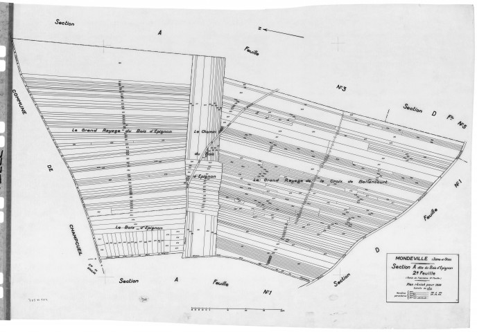 MONDEVILLE. - Cadastre révisé pour 1936 : plans de la section A le Bois d'Epignon 2ème feuille, section C la Padôle, section D la Coupe 5ème feuille ; cadastre révisé pour 1936 mis à jour pour 1964 : plan de tableau d'assemblage, plans de la section C, section D la Coupe 1ère feuille ; cadastre renouvelé pour 1962 : plans de la section ZA, section ZB, [8 plans].