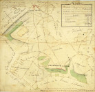 VILLENEUVE-SUR-AUVERS. - Plans d'intendance. Plan dressé par COTHERET, 1/270 perches, 50 x 50 cm.